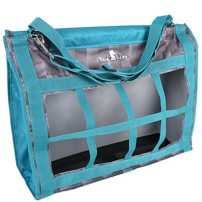 """24""""x20""""x9 CLASSIC EQUINE HORSE FEED NYLON ADJUSTABLE TOP LOAD HAY BAG CHECK TEAL"""