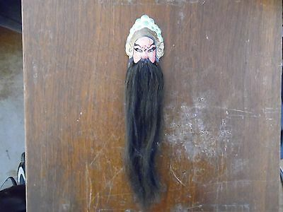 Vintage Asian Pottery Chinese Mask Bearded Hair Wall hangings