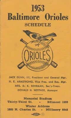 1953 Baltimore Orioles Last Minor Season Pocket Schedule Gunther Beer