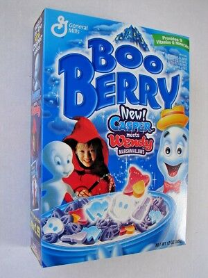 General Mills 1998 Boo Berry Cereal w/CASPER THE GHOST FULL 12oz UNOPENED BOX