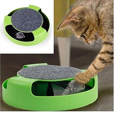 Cat Kitten Catch The Mouse Moving Play Toy Plush Scratching Claw Mat (GREEN)