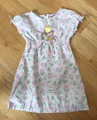 Vtg The Disney Store Girls Embroidered Winnie The Pooh Floral Dress Sz 4/5