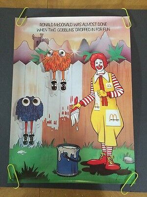 Ronald McDonald & Goblins 1976 McDonalds Poster Original Vintage Advertisement