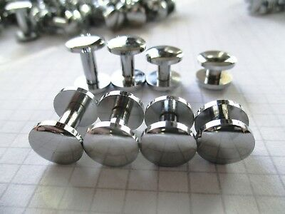 Chicago Screw Silver Cambered 10mm diameter head solid brass  4, 6 8, 10mm high