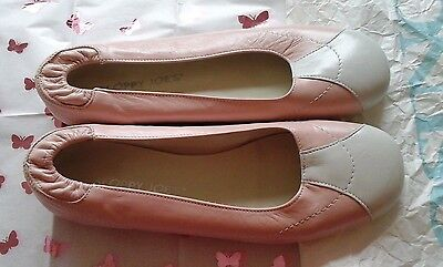 Designer Vintage  Leather Sloppy Joes by ESIN0, Pink & White Leather 39. (uk 6)