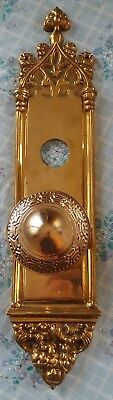 Ornate Decorative Brass Doorknob and backing plate heavy & solid nice!!