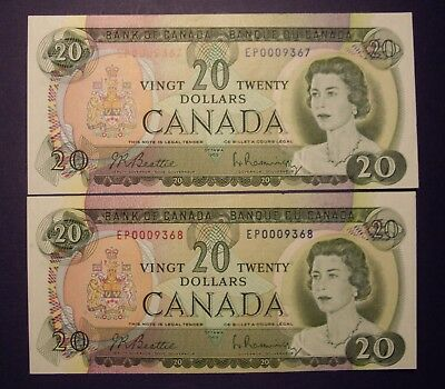 Canada 2 Consecutive 1969 BC-50a $20 Notes EP0009367 - 68  Unc