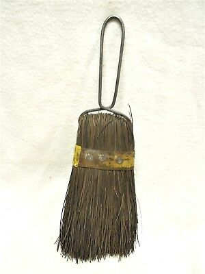 Vintage Whisk Broom. Wire Handle, Folder Over & Held With Metal Band And Brads.