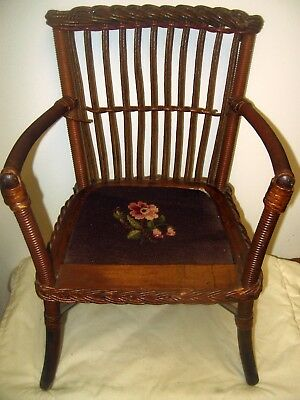 Antique Victorian Child/Doll Chair embroidered seat wicker wrap