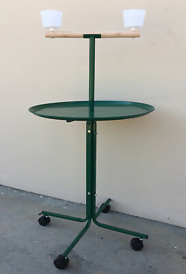 "NEW Large 23"" Green Metal Base Parrot African Grey Macaw Cockatoo Play Stand 248"