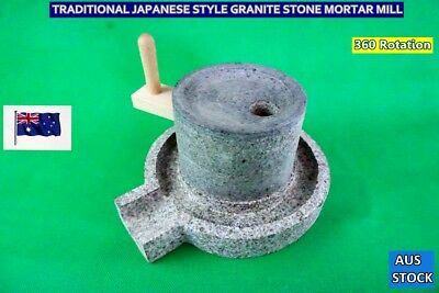 Japanese Style Traditional Granite Stone Mill Mortar Grinding Set Brand NEW