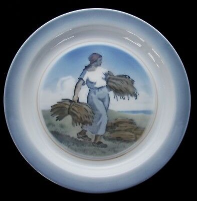 Signed Royal Copenhagen 3615 Girl w/ Wheat Sheaves Porcelain Plate - DK67
