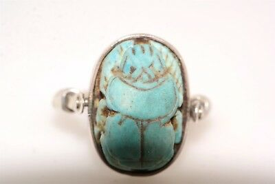 Vintage Turquoise Scarab Pivoting Sterling Silver Ring sz 5.75