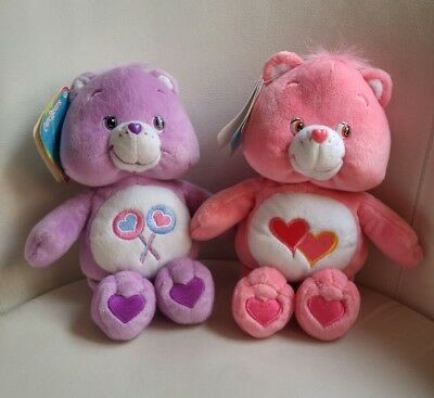 """Care Bears Plush with Tags. Love-A-Lot Bear and Share Bear. Approximately 10"""""""