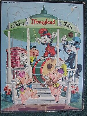 Disneyland Main Street Band Stand~Vintage 1955 Whitman Frame Tray Puzzle #4420 c