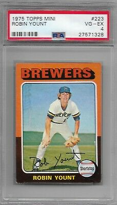 (PSA 4 Graded) ROBIN YOUNT 1975 Topps MINI #223 ROOKIE RC Brewers HOF VG-EX Rare