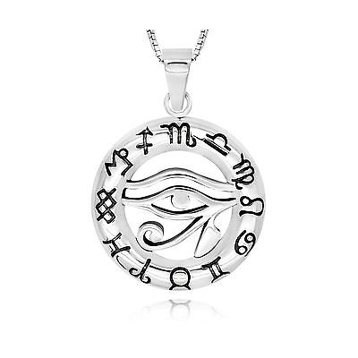 STERLING SILVER EGYPT EGYPTIAN Udjat Eye of Ra Horus Pendant Necklace 18