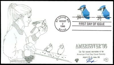 1996 Julian Pugh Hand Painted / Signed FDC, BLUE JAY, AMERICOVER'96, SC #2483!