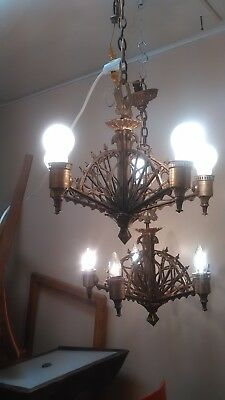 Pair Vintage Ornate Design Solid Brass Five Light Electric Antique Chandeliers
