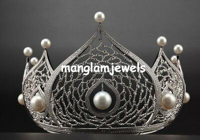 Vintage Wedding Style Natural Rosecut Diamond Pearl Tiara / Crown Jewelry