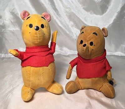 2 RARE Vintage Gund Winnie the Pooh Bear Plush Sitting Standing Red Shirt JAPAN