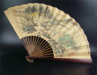 Fine Old Chinese Rosewood Frame Folding Fan Hand Painting Calligraphy Home Deco