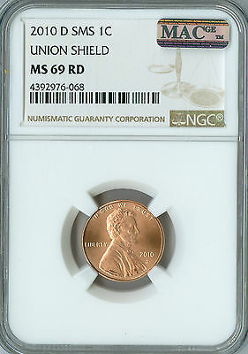 2010-D Lincoln Shield Cent Ngc Mac Ms-69 Sms Pq Finest Grade Spotless .