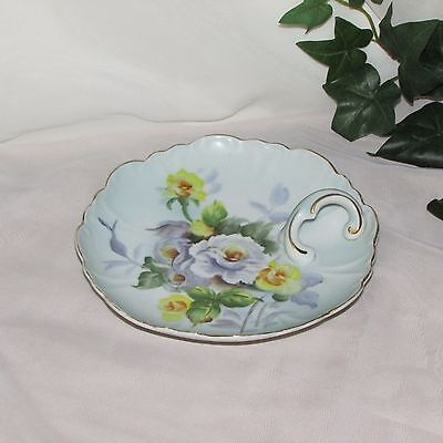 """MISTY ROSE ROUND DISH WITH HANDLE HAND PAINTED FLOWERS 7 1/8"""" N & Co Japan"""