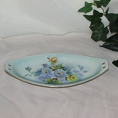 """MISTY ROSE LONG OVAL DISH HAND PAINTED FLOWERS N & Co JAPAN 9 1/2"""" PRETTY FLORAL"""