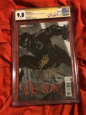 W@w~Cgc Ss 9.8~Venom #3~Sketch Wrap-Around Variant~Signed By Dell'Otto+Stan Lee