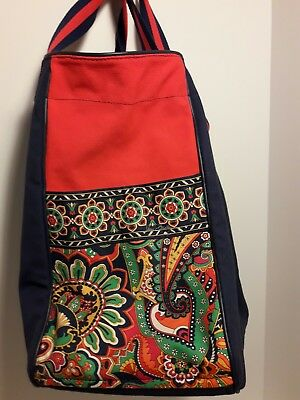 Vera Bradley Large Colorblock Tote Shopper Navy, Red and Retired Marina Paisley