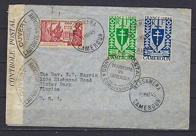 1939 Cameroun Scott 223 and 2 others on late WWII locally-censored cover to USA