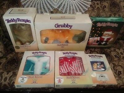 Vintage 1980's Teddy Ruxpin Grubby Worlds of Wonder Lot of 6 Boxed Slightly Used