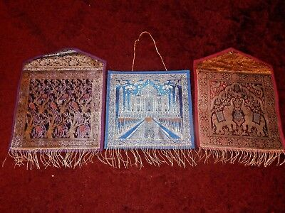 Lot of 3 - Gorgeous Metallic Fringed Wall Pockets - Taj Mahal, Elephant, Peacock