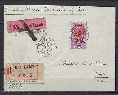1924-27 Chad Scott 59 on registered cover Fort-Lamy to Bulle, SUI (11/6/33)