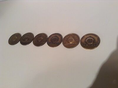 6 Coins AA  Bronze Coins 1 Year to 6 Year alcoholics anonymous sobriety set