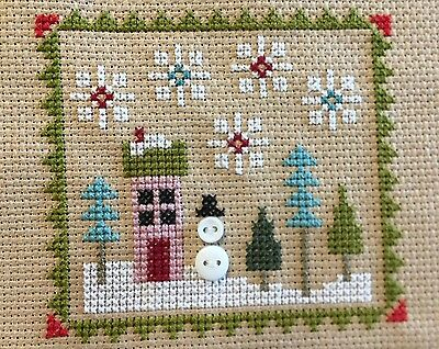 completed cross stitch Lizzie Kate Christmas House snowman
