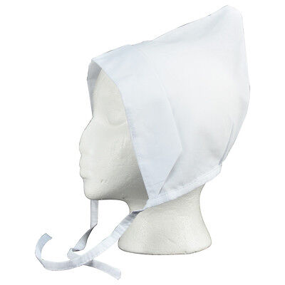 Amish Coif White Linen Bonnet Head Piece Costume Pilgrim Hood Theatre Prop Hat