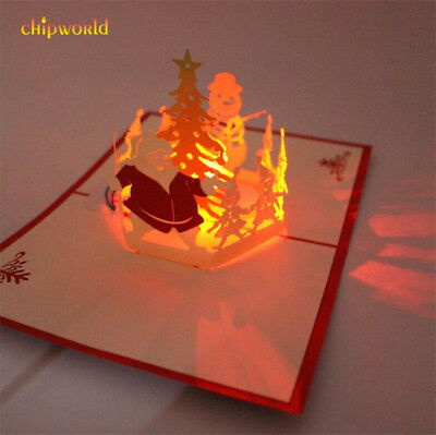 Handmade 3D Pop Up Merry Christmas LED Greeting Card Xmas New Year Gift W/ Music