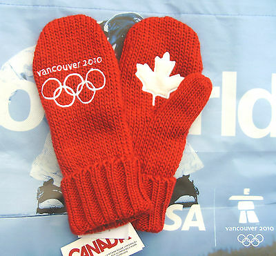 Original Vancouver 2010 Winter OLYMPIC RED MITTENS Youth Size O/S New With Tags