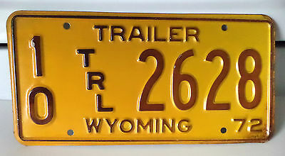 1972 WYOMING TRAILER License Plate Tag # 10 TRL 2628 Used Expired