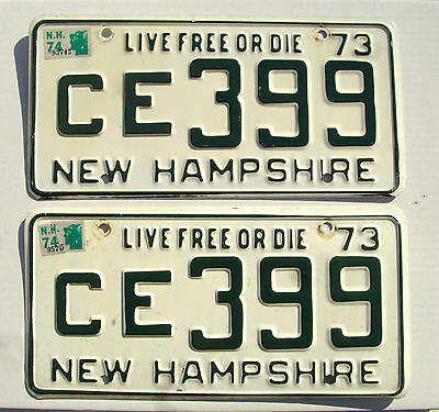 """1974 NEW HAMPSHIRE """"LIVE FREE OR DIE"""" License Plates tag# CE399 matched pair"""