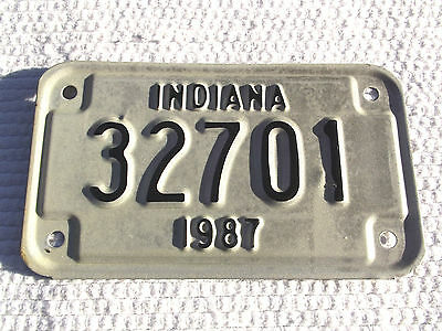 Unissued Indiana 1987 Motorcycle License Plate Vintage Tag# 32701 New Old Stock