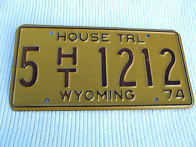 1974 WYOMING HOUSE TRL License Plate tag #5 HT 1212 vintage unissued plate