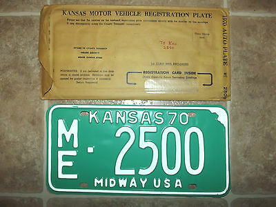 1970 State OF KANSAS MIDWAY USA License Plate Tag # ME-2500 Unissued NOS Plate