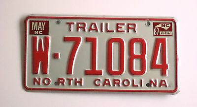 1987 NORTH CAROLINA TRAILER License Plate VintageTag # W-71084 Nice Expired TAG