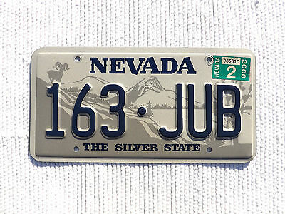 """2000 NEVADA """"THE SILVER STATE"""" License Plate Tag #163-JUB with expired sticker"""