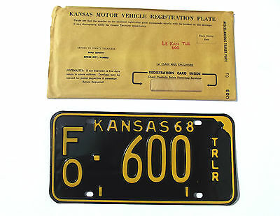 Nice 1968 KANSAS TRAILER License Plate/Tag LOW # FO-600 Unissued NOS Plate