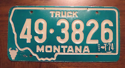 1973 74 State OF MONTANA TRUCK License Plate tag # 49-3826 expired vintage plate