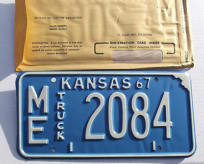 Unissued 1967 State OF KANSAS TRUCK License Plate Tag # ME-2084 NOS Expired